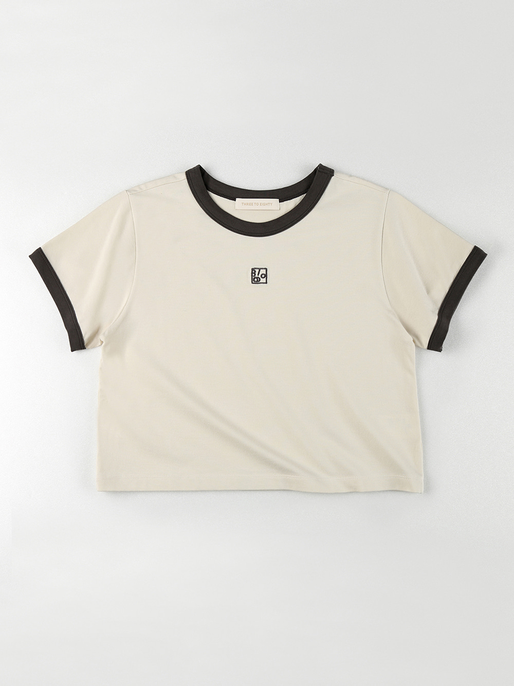 Ringer Crop T-shirt (Charcoal)