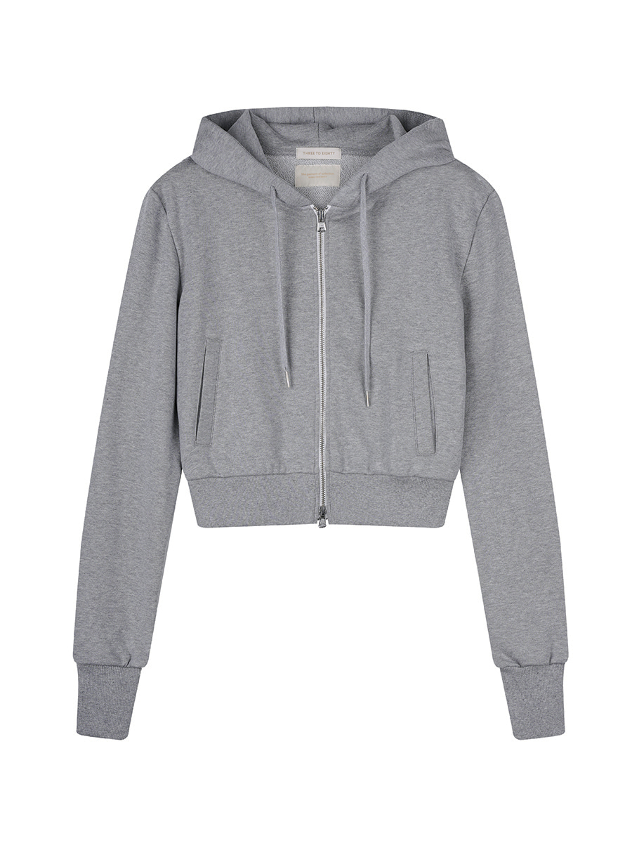 Crop Zip-up Hoodies (Grey)