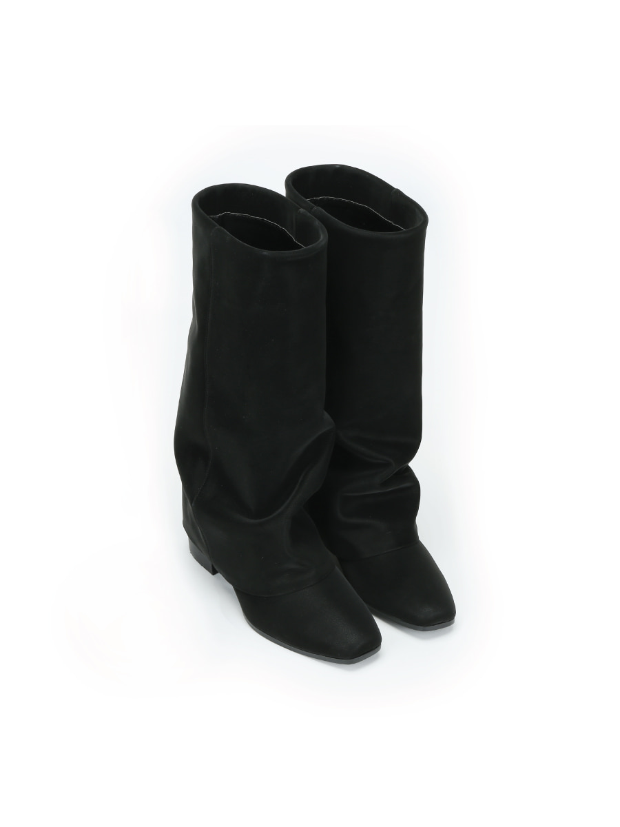 Wrinkle Leather Boots (Black) (225-255)