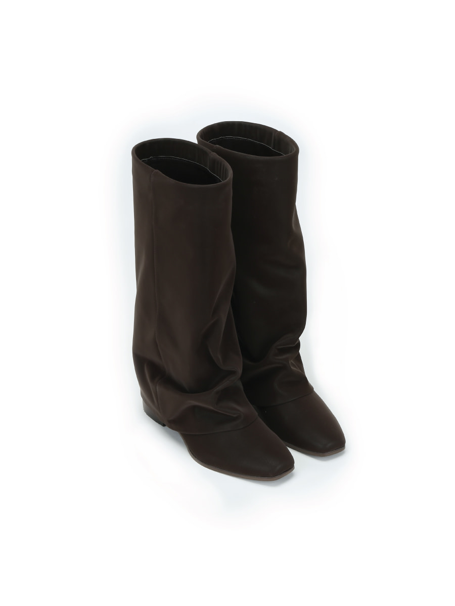Wrinkle Leather Boots (Dark Brown) (225-255)