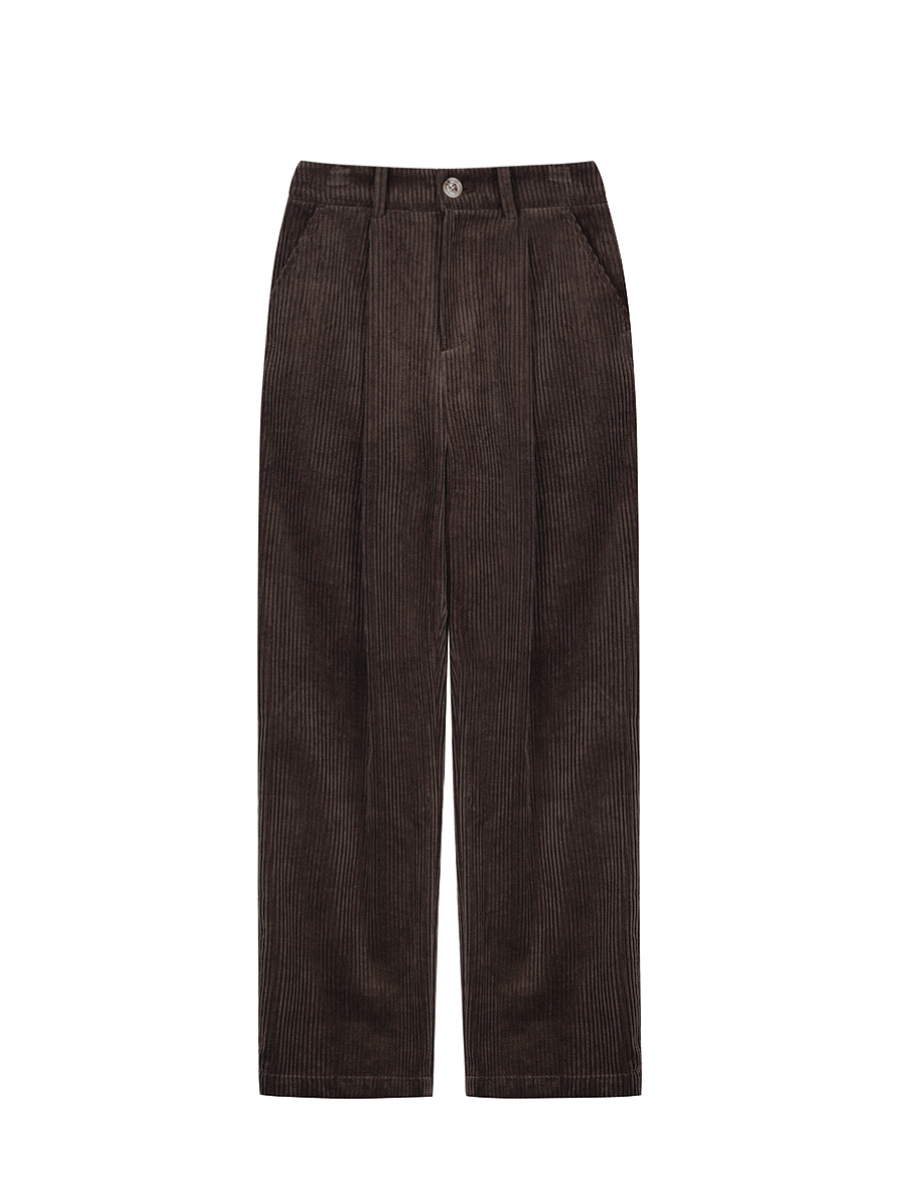 Wide Corduroy Trousers (Dark Brown)