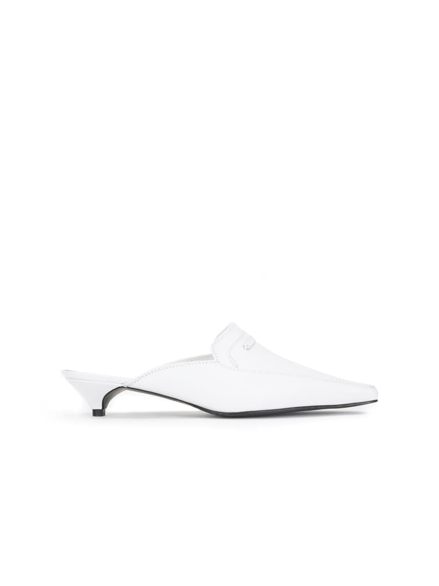Pointed Toe Mule (White)