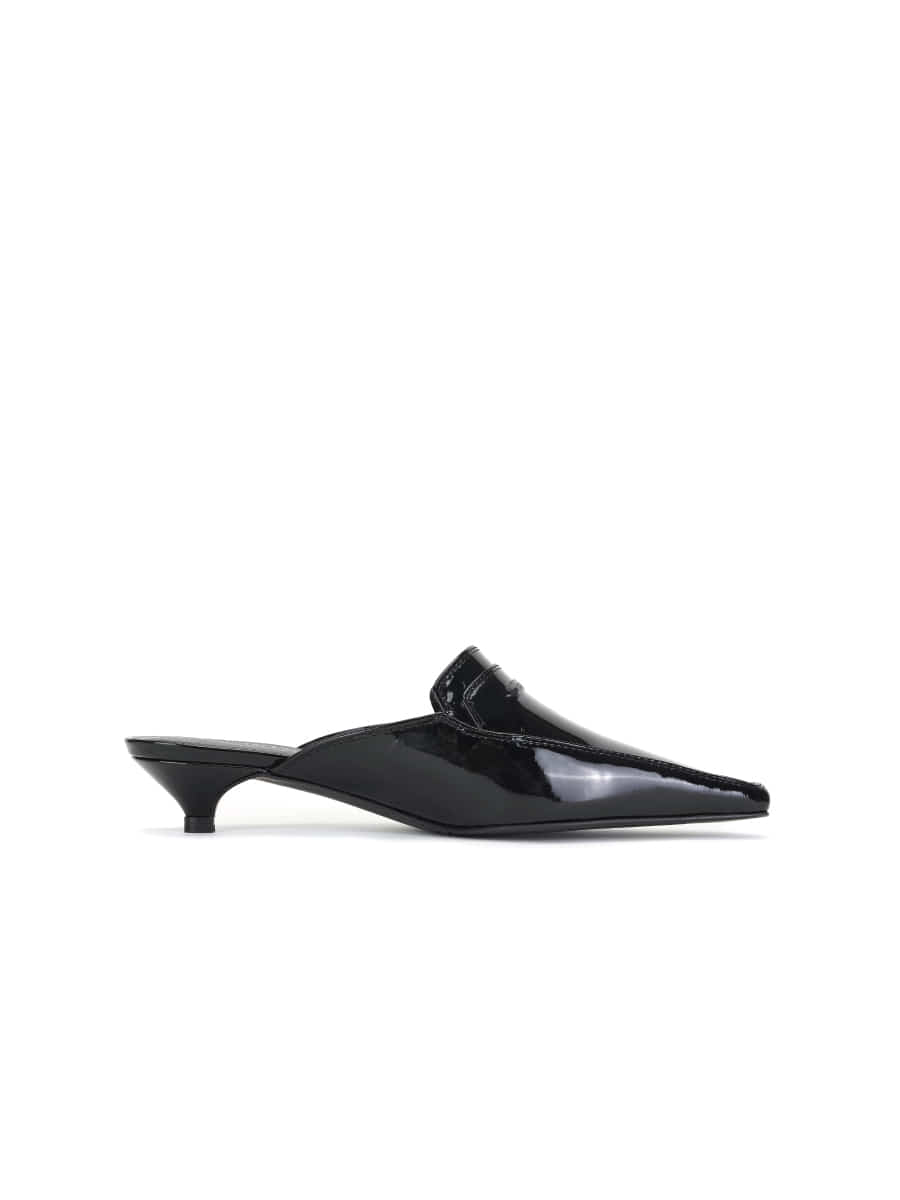 Pointed Toe Mule (Enamel Black)