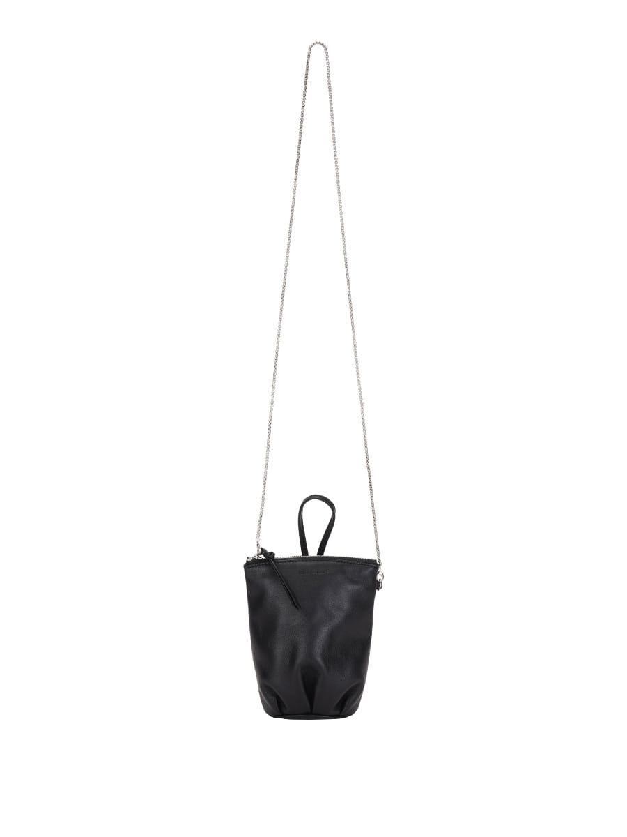 Leather Shirring Mini Bag (Black)