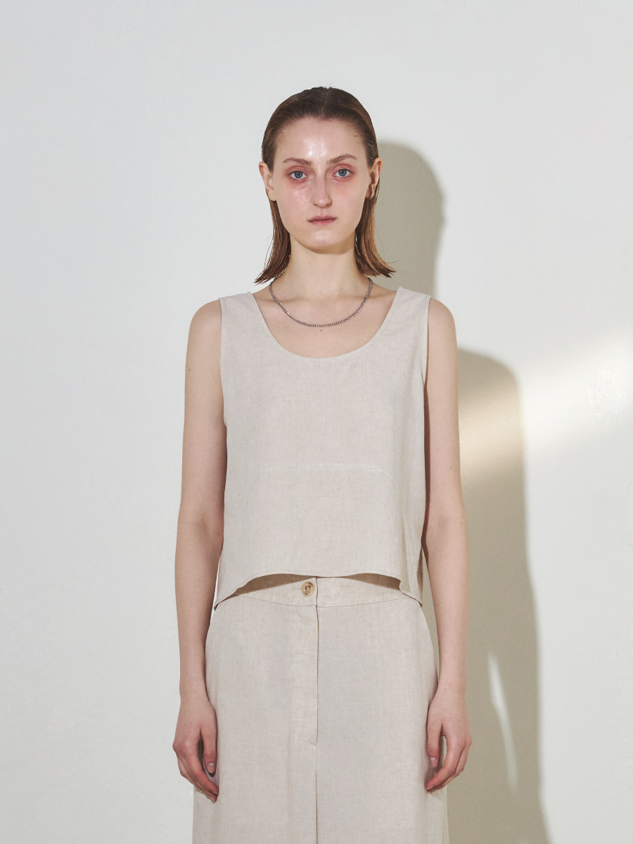 Linen Sleeveless Top (Oat)
