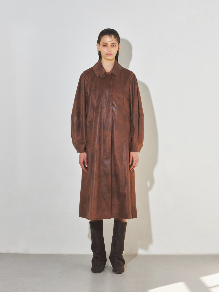 Balloon Trench Coat (Faux Vintage leather )
