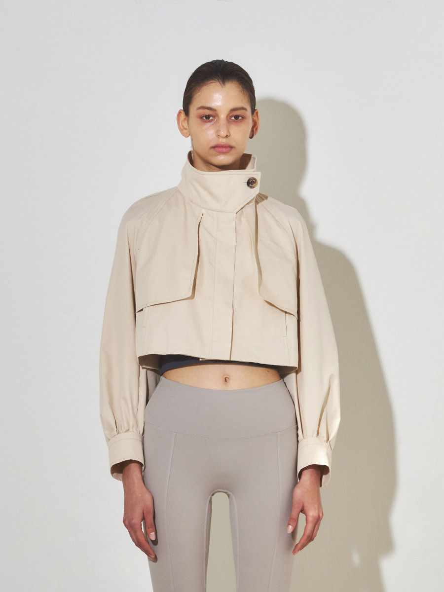Cotton Cropped Trench (Beige)
