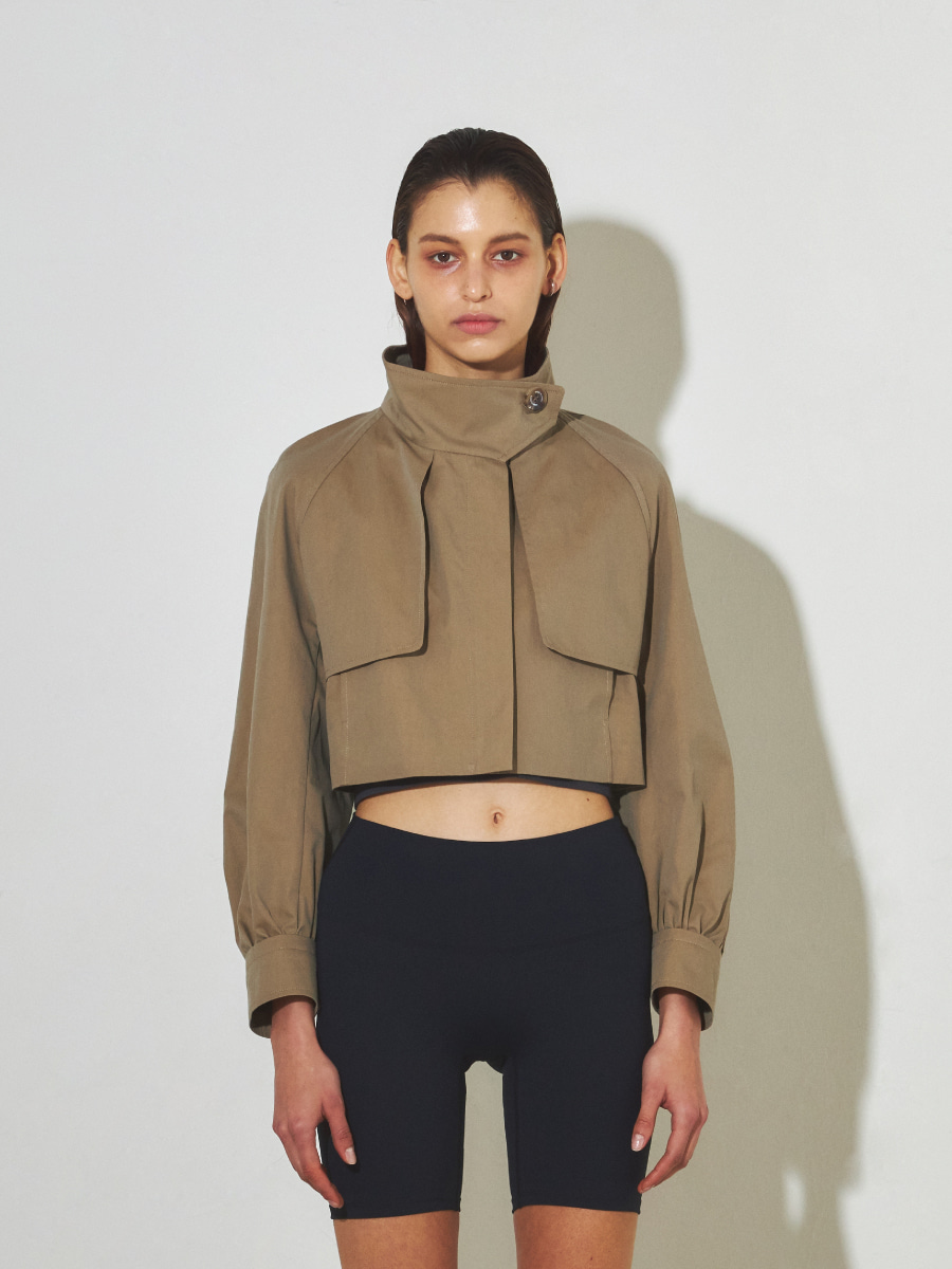 Cotton Cropped Trench (Khaki)