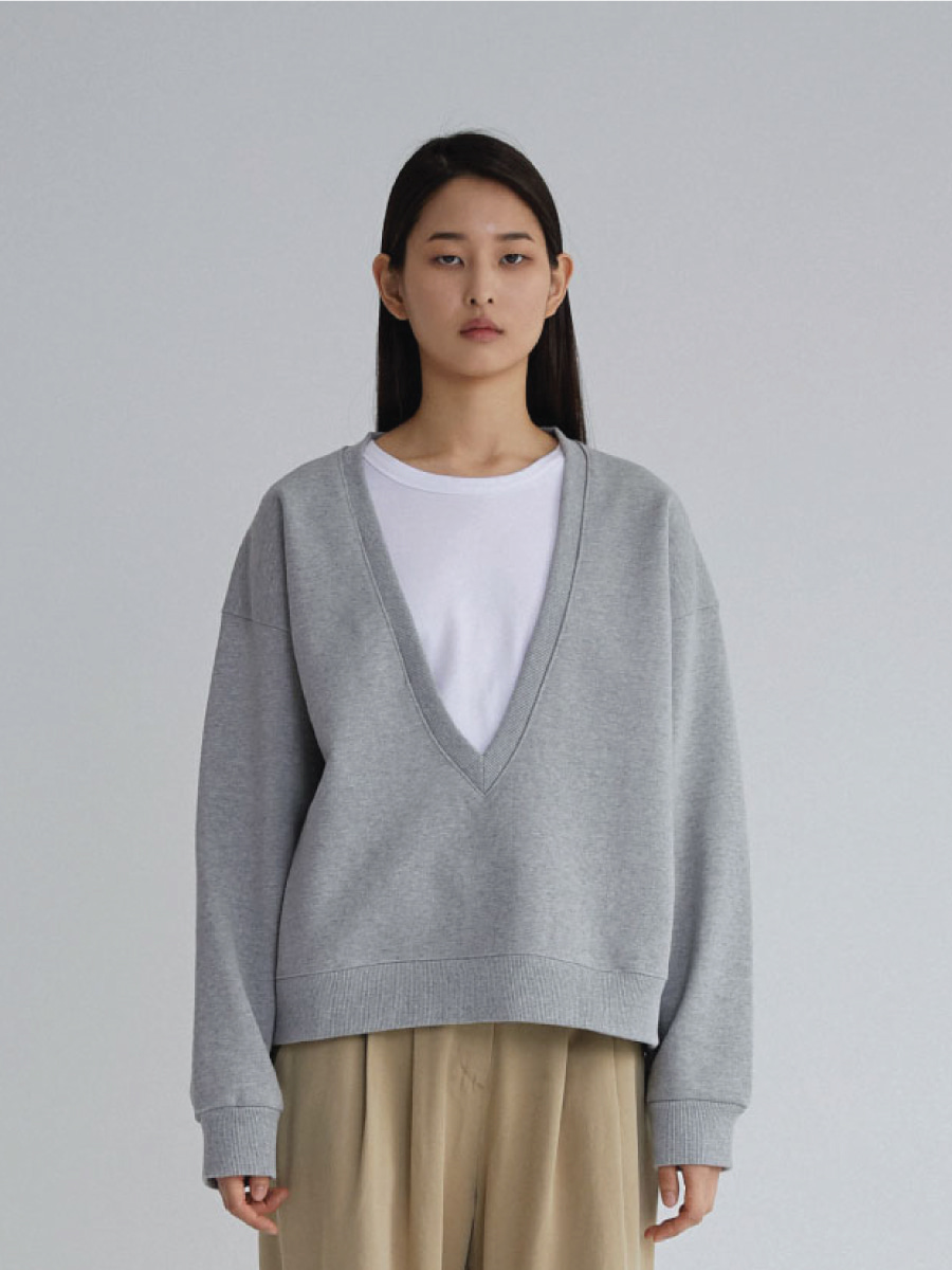 Deep V-neck Sweatshirts (Melange Grey)