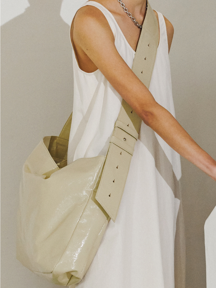 Large Belted Cross Bag (Cream)