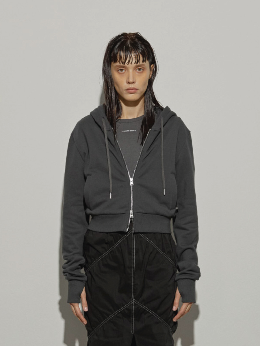 Crop Zip-up Hoodies (Charcoal)